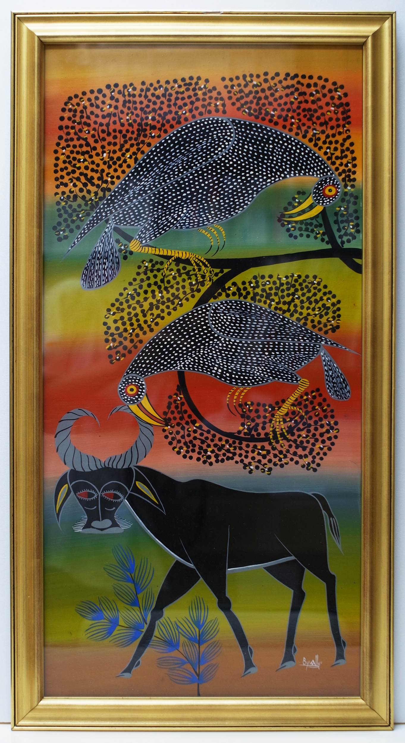 ALLY OMARI - Water Buffalo_Birds (600×300 Framed)