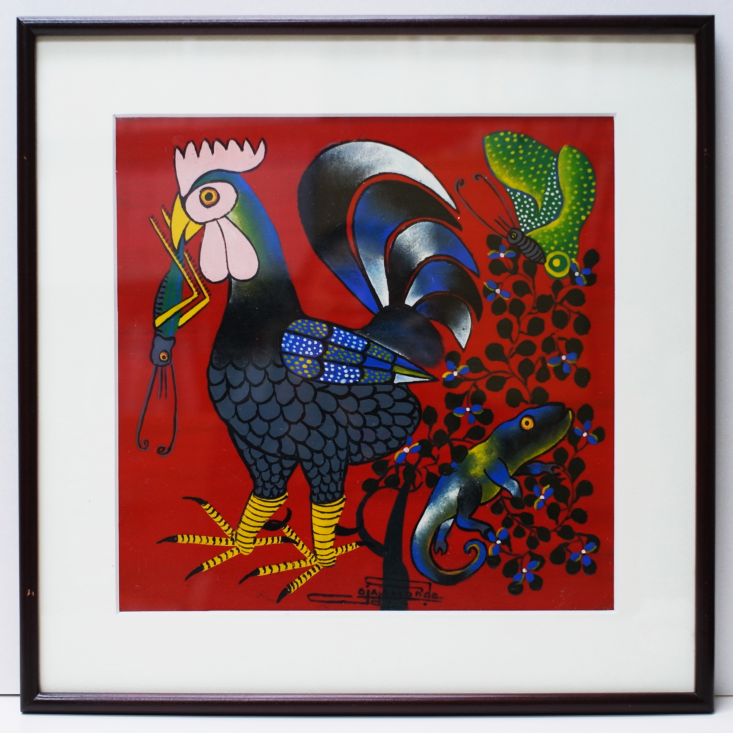 OMARI ALOIS AMONDE - Chickin  (300×300 Framed)