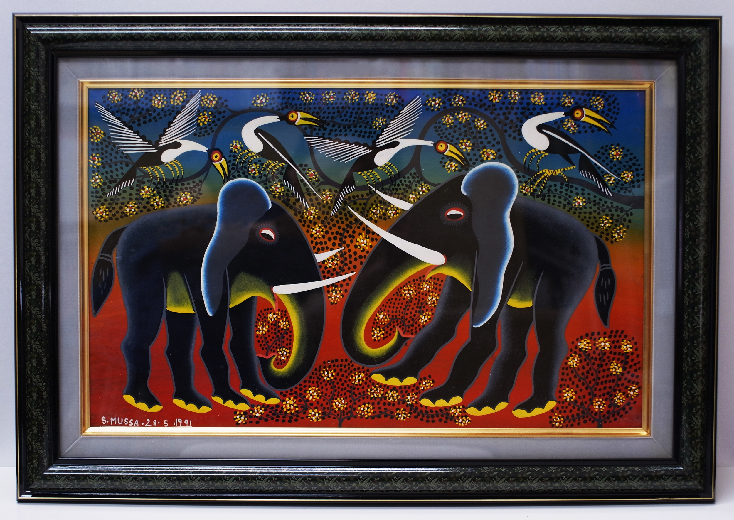 Two Elephants (300×500 Framed)
