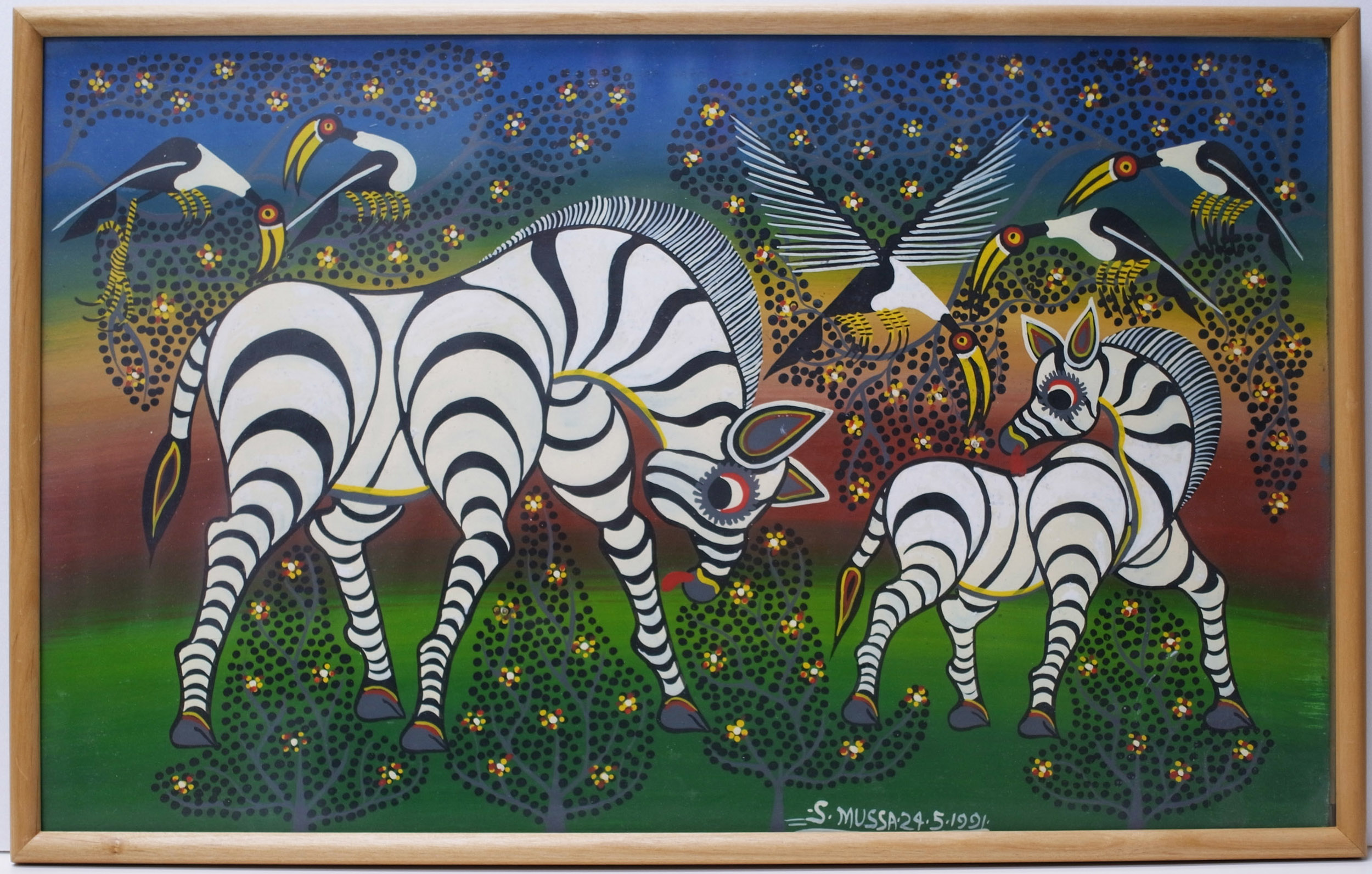 SALUM MUSSA - Zebras Parent And Child (300×500 Framed)