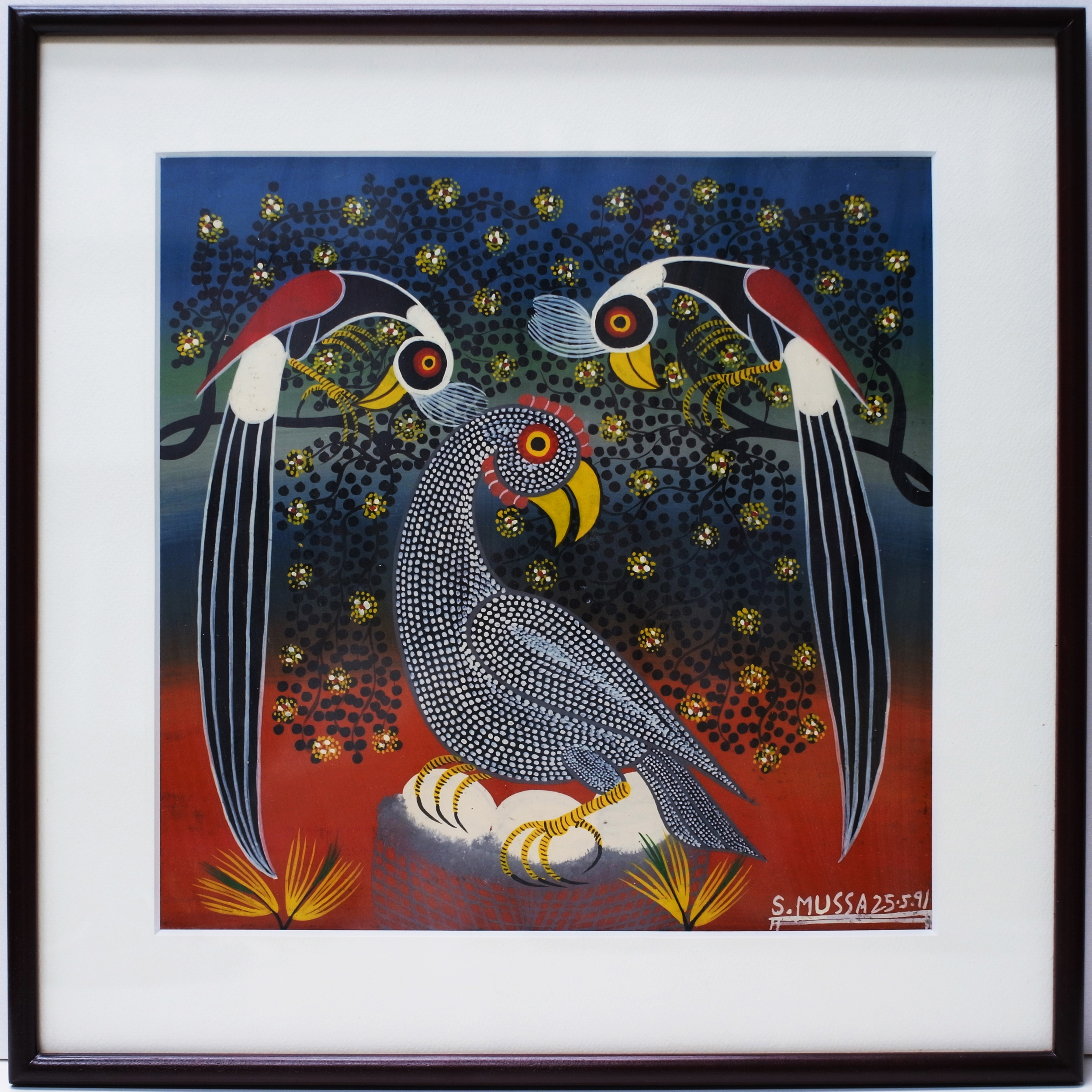 3 Birds (300×300 Framed)